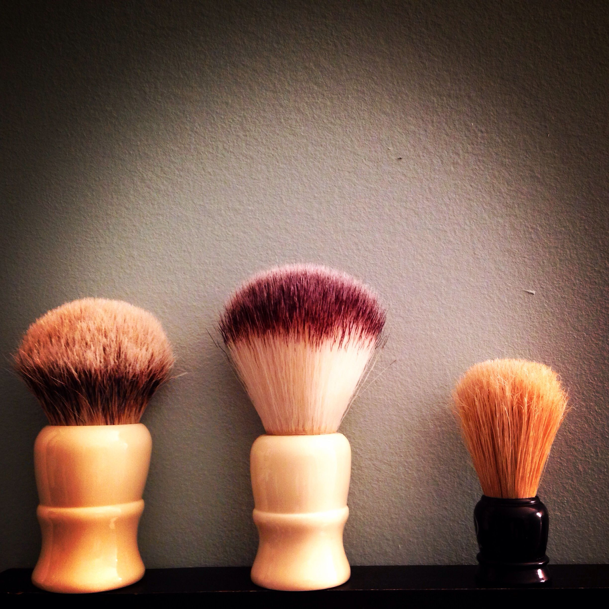 my brush line up l r silvertip badger brush by whipped dog