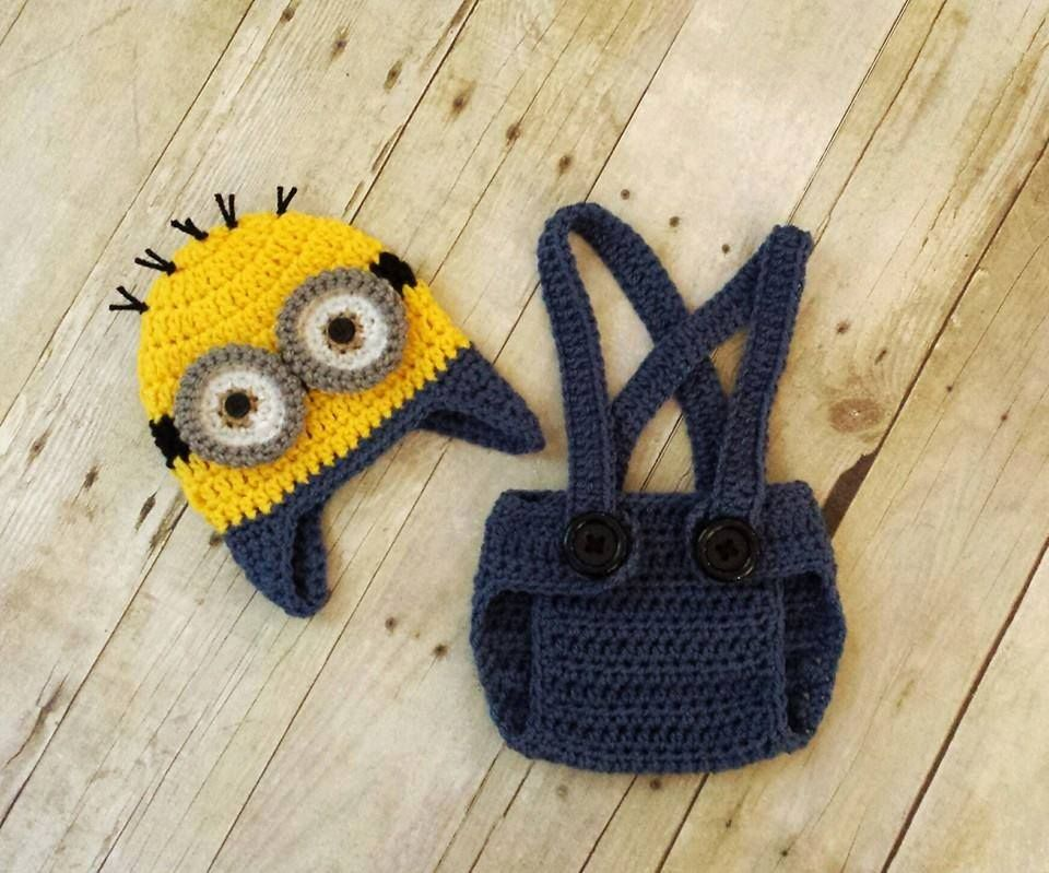 Crochet Baby Boy Minion Hat and Diaper Cover Set $30 Available from ...