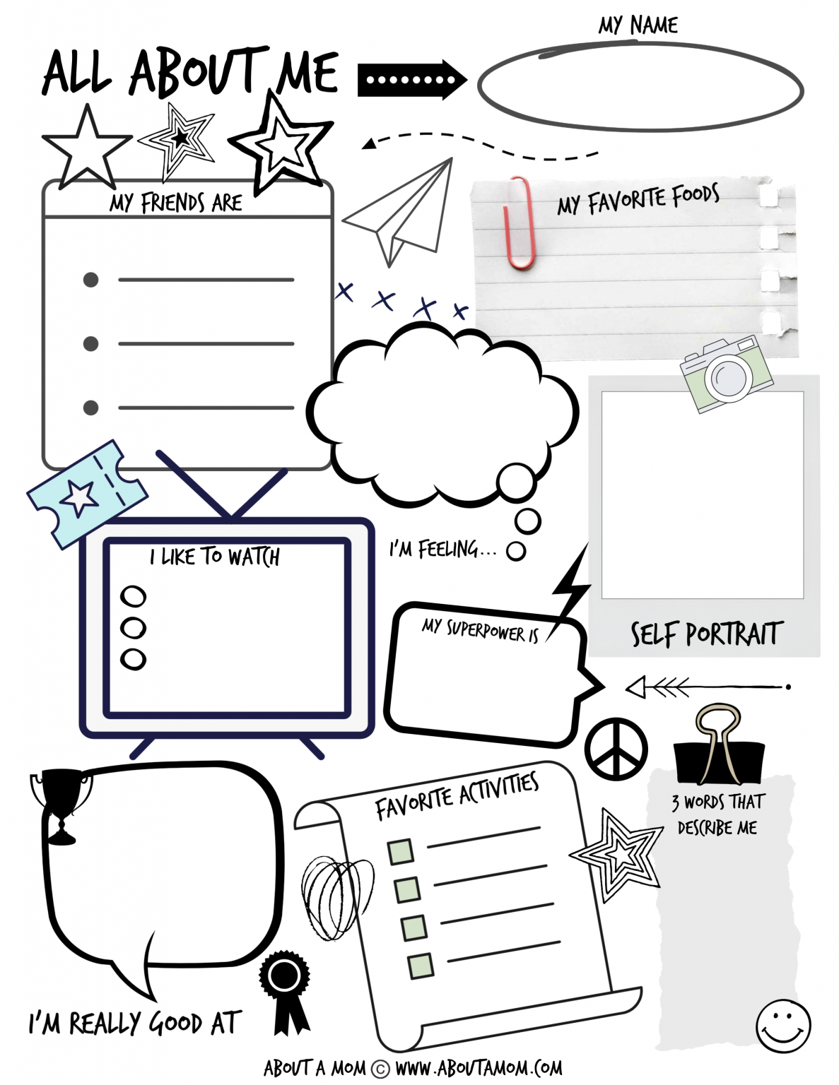 All About Me Printable Activity Page For Kids