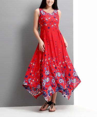 82376238c7 Look what I found on  zulily! Red Paisley Handkerchief Maxi Dress - Plus   zulilyfinds