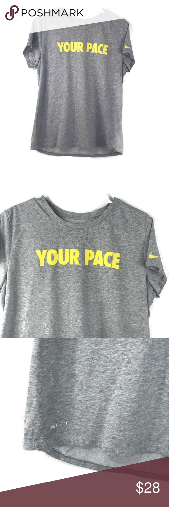 """Nike Gray """"Your Pace Or Mine?"""" Yellow T"""