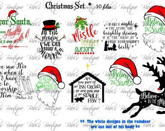 christmas svg set 10 files religous santa snowman o holy