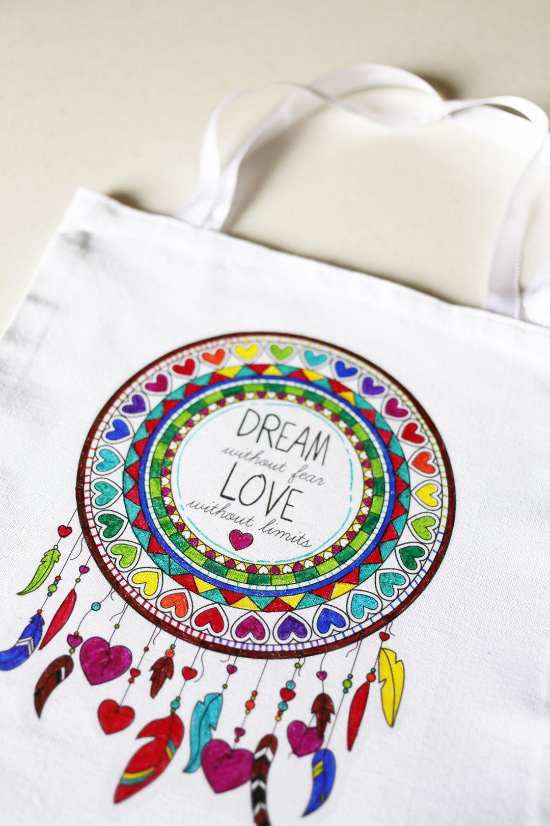 Dreamcatcher Diy Coloring Book Canvas Bag Art Bag Diy Arts And Crafts Arts And Crafts