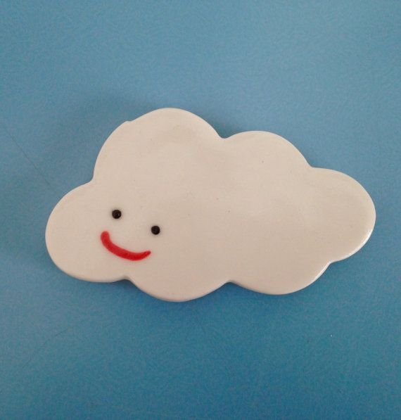 Ceramic Cloud Magnet Smiley Face White Porcelain Sonraclay