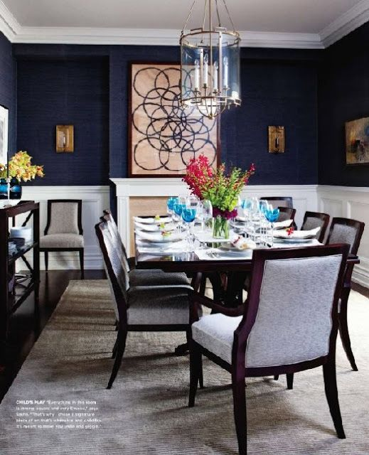 Dining room in our new home i am gonna do navy antique for Navy dining room ideas