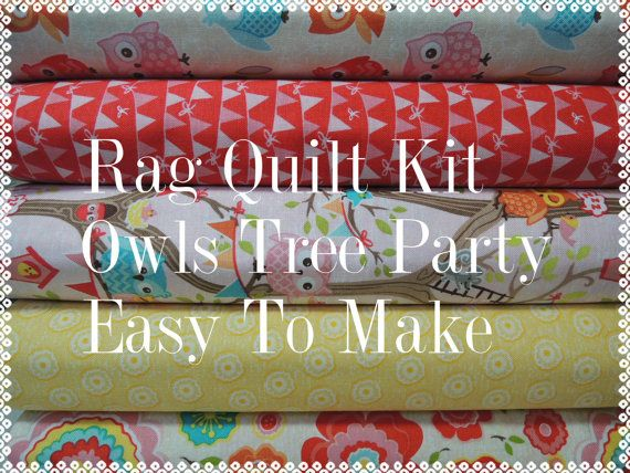 Tree Party Owls Rag Quilt Kit  Easy to Make by beffie48 on Etsy