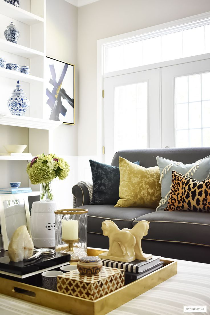 Fall Home Tour Using Rich Colors Brass And Gold Brown And Blue Living Room Living Room Color Living Room Color Schemes #navy #blue #living #room #accents