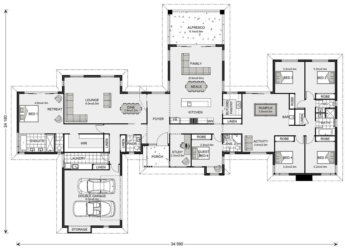 Mansfield 407 Home Designs In Naracoorte G J Gardner Homes 6 Bedroom House Plans Floor Plans House Blueprints