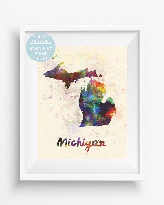 Mchigan MapMchigan US StateAmerica WatercolorDigital Prints