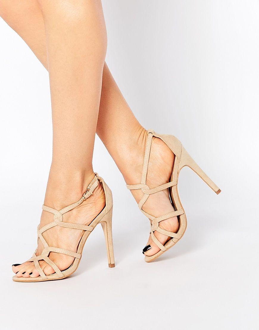 Truffle Collection Nude Helen Diamante Sandals Heels Shoes Women QHBFBF