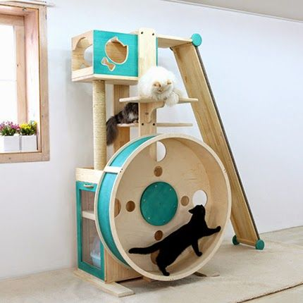 A cat tree hamster wheel cat tree plans hamster wheel for Cool cat perches