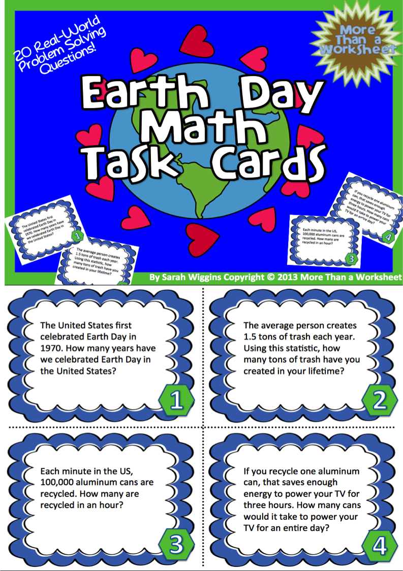 Earth Day Math Task Cards | Recording sheets, Worksheets and Math