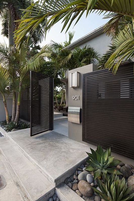 Cool Outdoors Delightful Landscape Ideas For Modern House Design With Black Entrance Gate