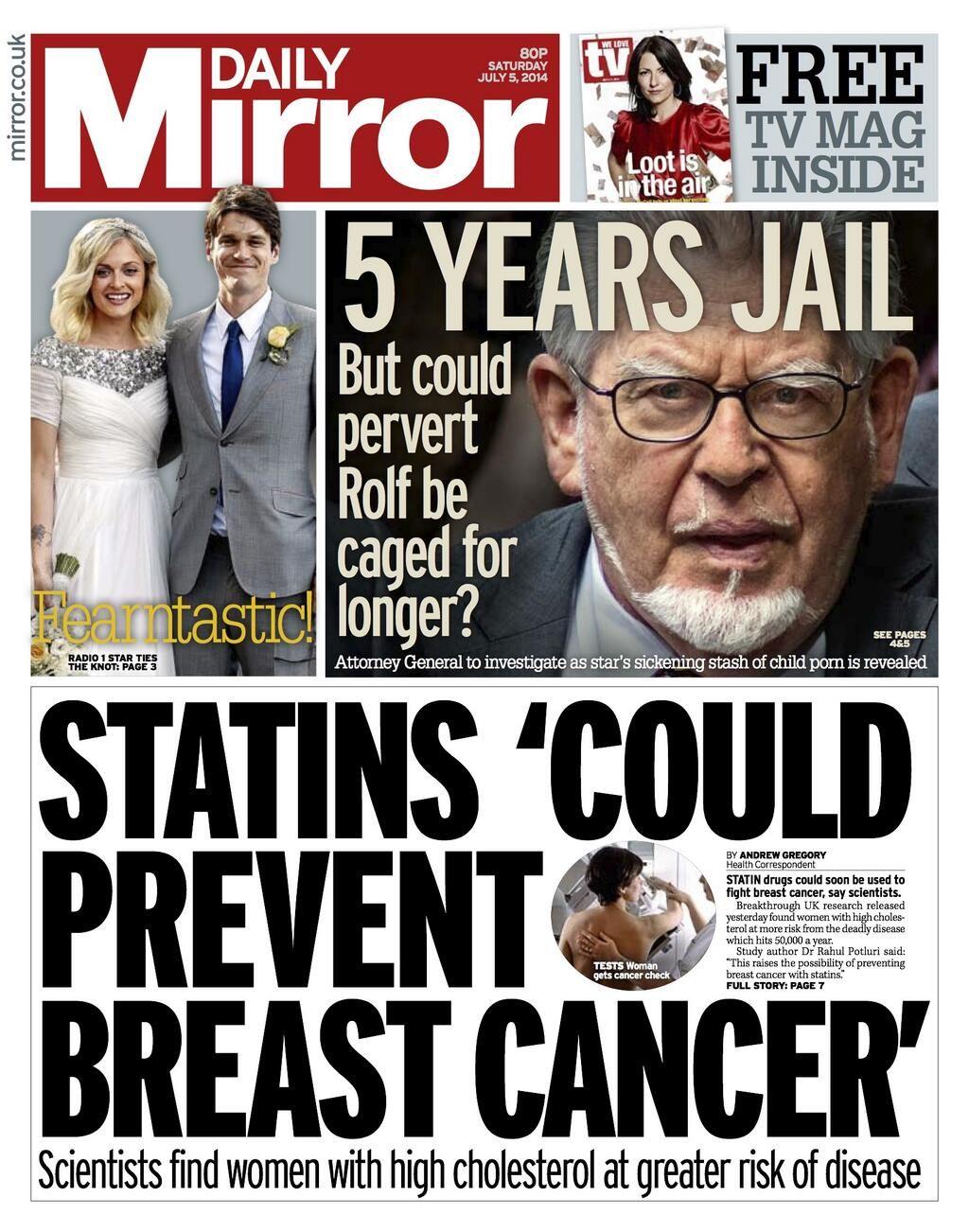 Daily Mirror, 5 July 2014 Newspaper headlines, Tabloid