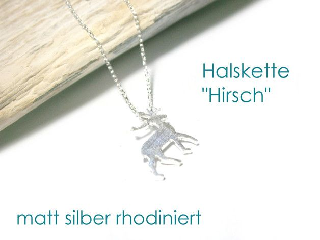 **Halskette Hirsch**, Länge 42 cm, matt silber rhodiniert (anlaufgeschützt).