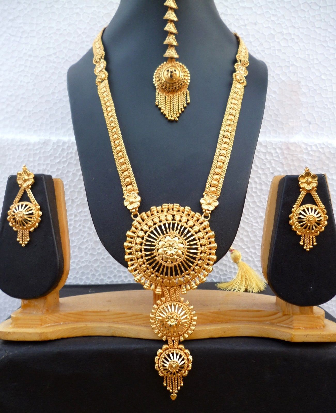 22k Gold Plated Indian Designer Necklace Tikka Earrings Party Wedding Set Fashion Jewelry Jewelry & Watches