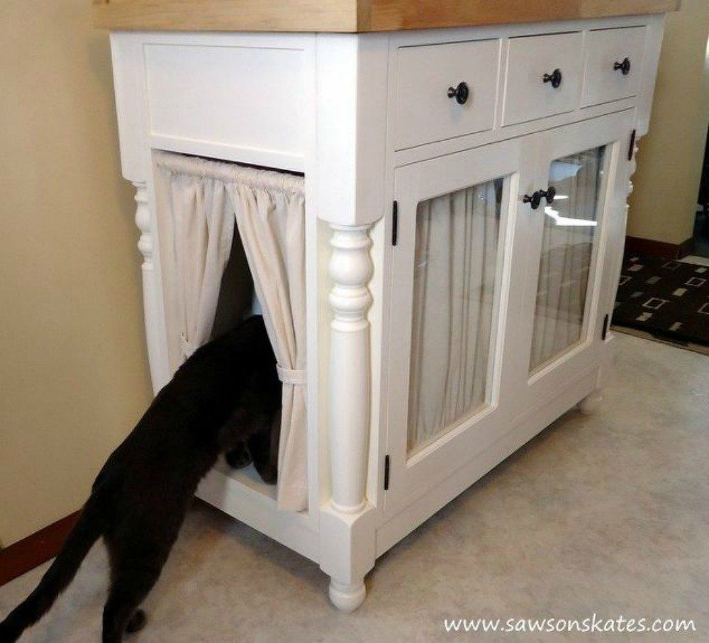 S Cat Owners 12 Ways To Hide A Litter Box In Plain Site Add Curtained Doors Butcher Block Counte