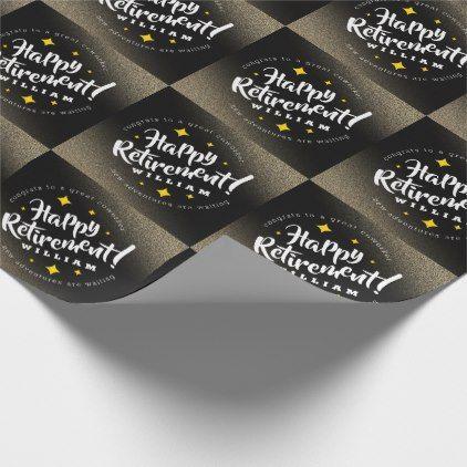 Fun Gold Glitter Stars Retirement New Adventures Wrapping Paper | Zazzle.com #goldglitterbackground