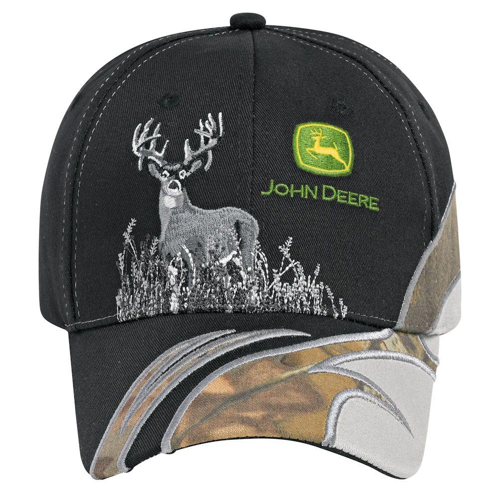 John Deere Black/Gray Camo Cap