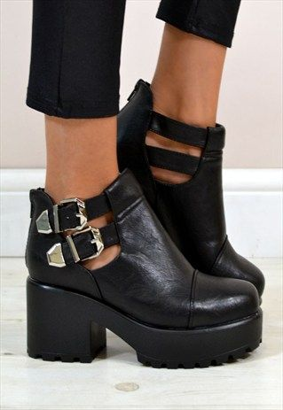 d15bf0059167 KIMI CUT OUT CHUNKY HEEL DOUBLE BUCKLE ANKLE BOOTS IN BLACK
