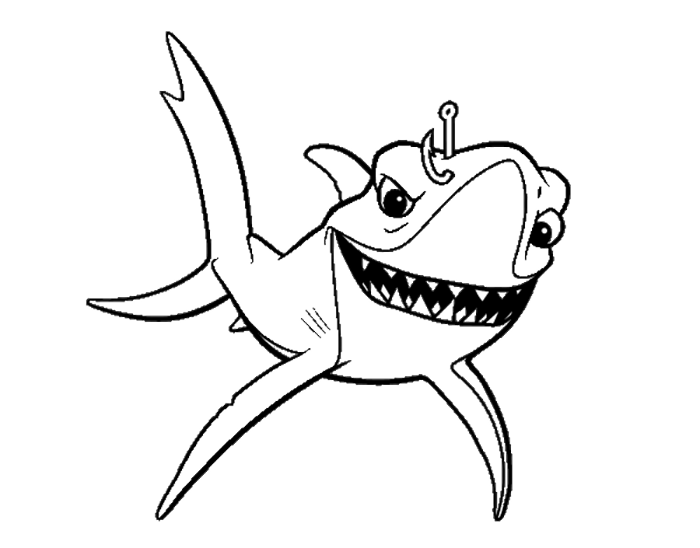 Finding Nemo Bruce Affected Fishing | Finding Nemo Coloring Pages ...