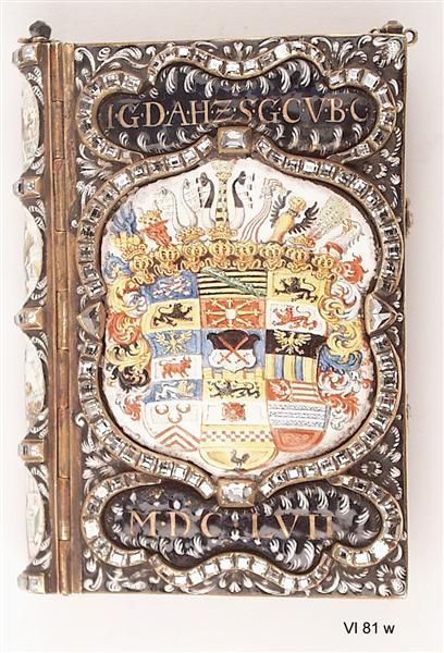 Immerwährender Kalender für Kurfürst Johann Georg II/Elector John George II of Saxony's perpetual calendar; gold, enamel and diamonds; 1657; it is decorated with Saxon coats of arms. (Staatliche Kunstsammlungen Dresden)