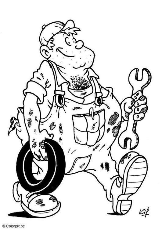 Auto Mechanic Coloring Page - (edupics)   COLORING - DIGIS   Pinterest