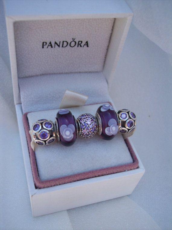 Pandora Charm Purple Flowers For You Whimsical Lights Purple Etsy Pandora Charms Purple Pandora