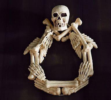 Outdoor Bones Wreath #potterybarn $ store skeleton/wire wreath form - michaels halloween decorations