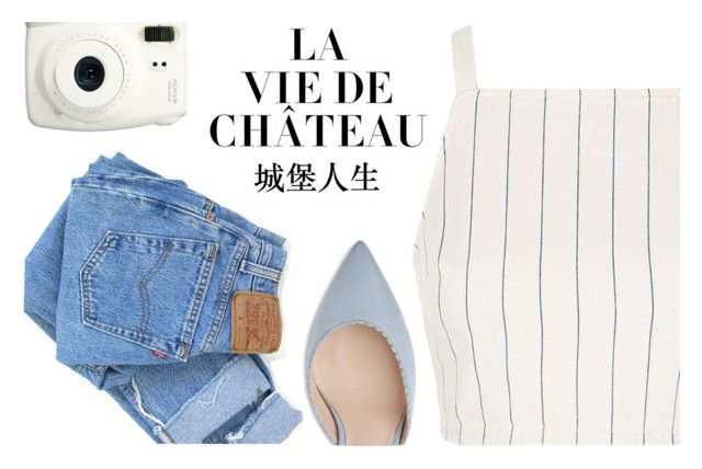 """""""C'est la vie."""" by m-huber ❤ liked on Polyvore featuring Topshop, Levi's, Fuji, white, denim, ootd, pinstripes and summer2016"""