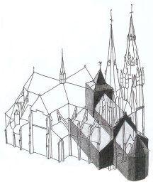 In donkere tint weergegeven, een tekening van de middeleeuwse  Catharinakerk te Eindhoven en daaroverheen de tekening van de in 1867 nieuwgebouwde kerk, op de locatie van de oude.  De oude kerk -waarin Matthias predikte- was 50 meter lang en naar het oosten georiënteerd.