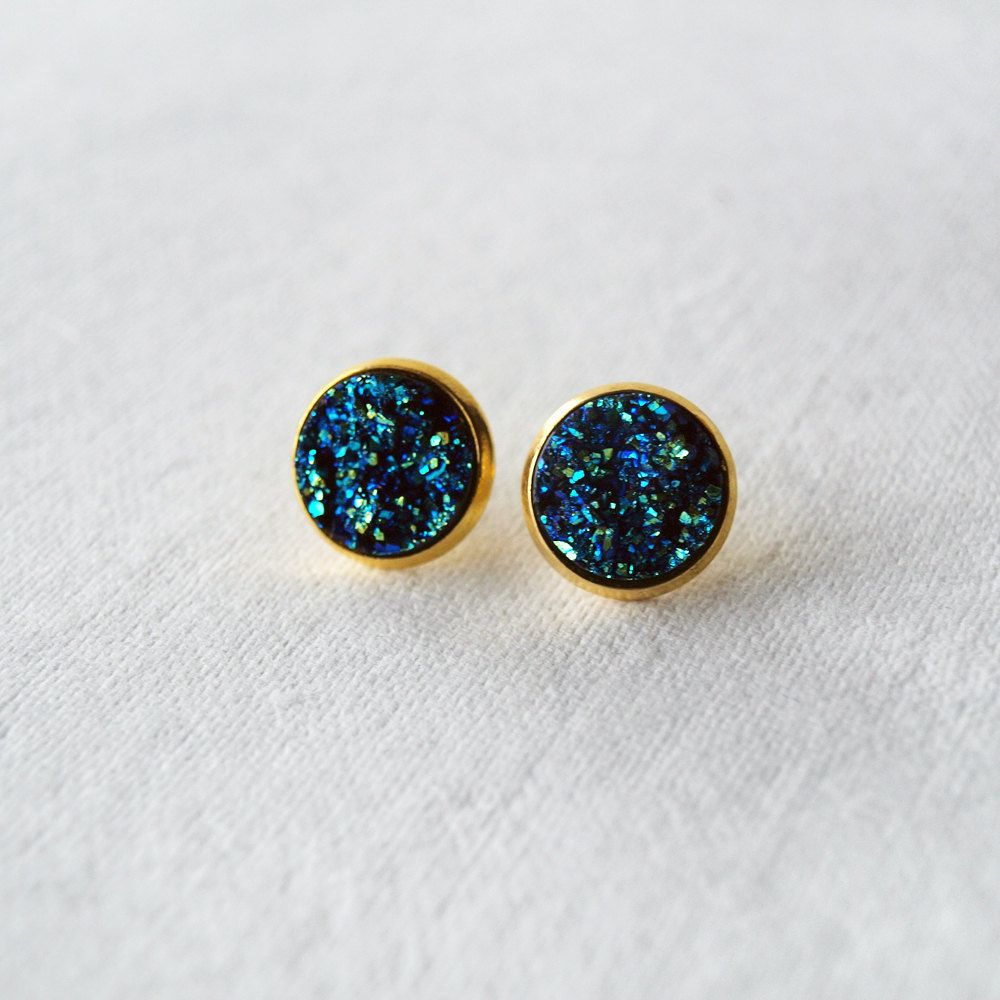 sparkly handmade pin glitter stud earrings boho