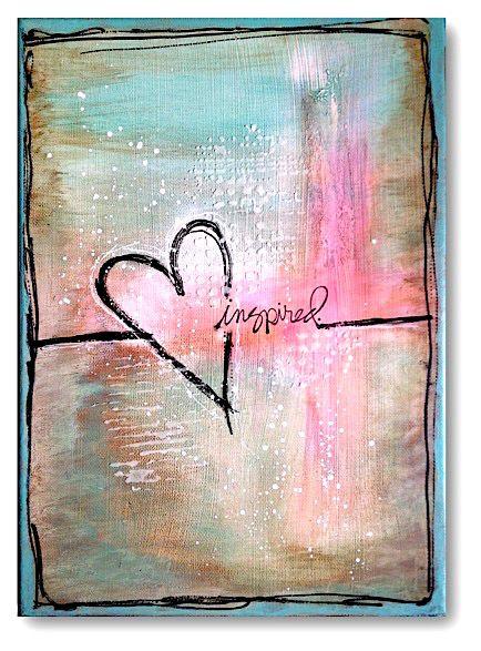 Mixed Media Heart Love Painting Abstrakte Malerier Abstrakt Malerier