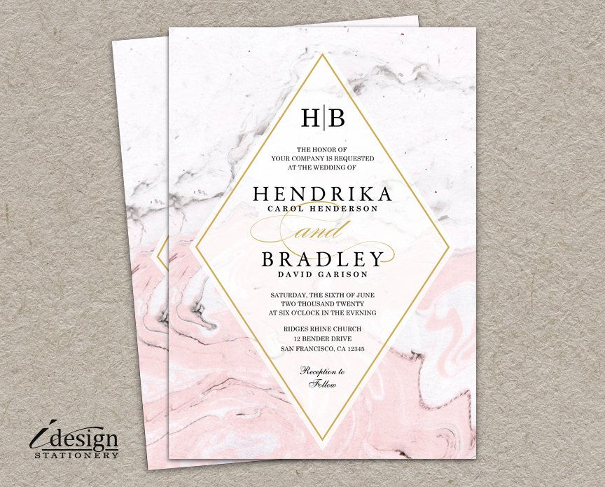 Black Pink Wedding Invitations: Modern Printable Watercolor