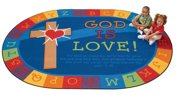"God is Love Learning 5'5"" x 7'8"" Oval Rug"
