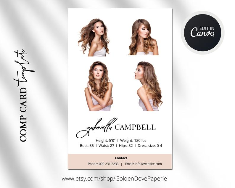 Model Comp Card Template Canva Template Comp Card Easy Etsy Model Comp Card Signature Logo Design Branding Template