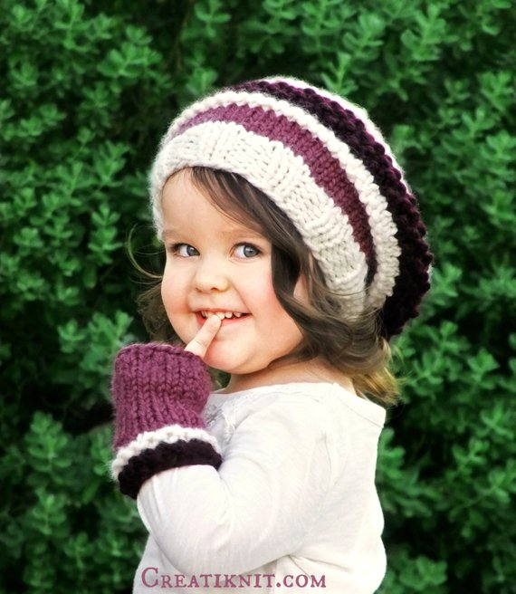 7fcac6c7ab5 KNITTING PATTERN-The Slouchy Beret and Mittens Set (Toddler
