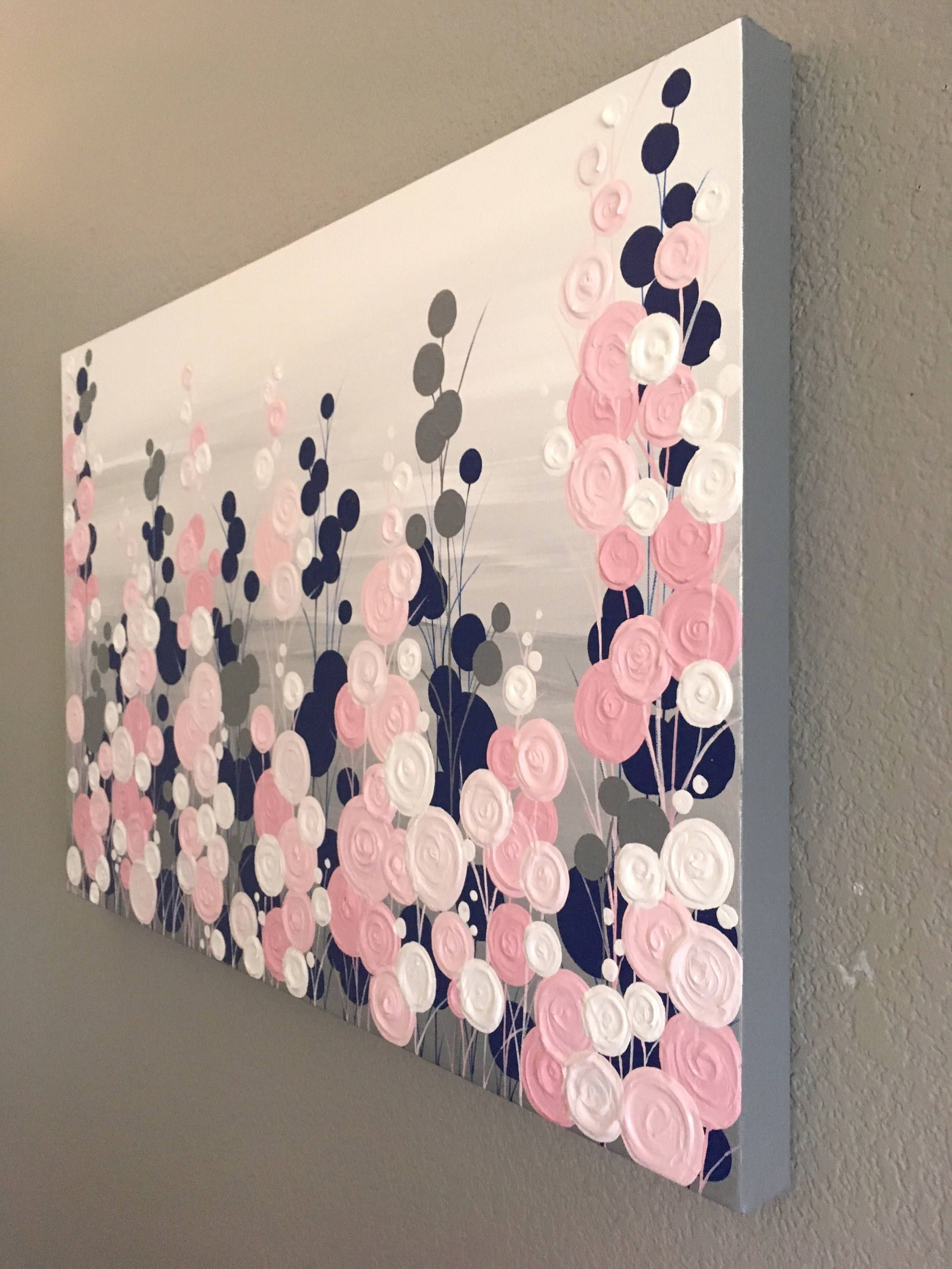Navy Blue Pink And Grey Textured Painting Abstract Flowers Large Acrylic Painting On Canvas Select A Size Grey Bedroom With Pop Of Color Pink Bedroom Decor Blue And Pink Bedroom