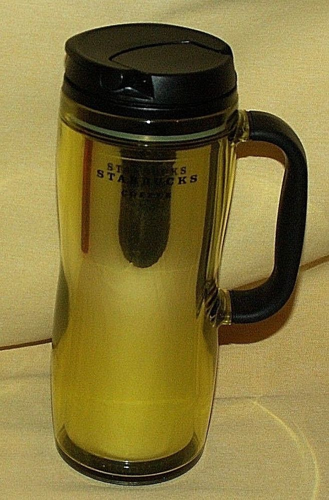 STARBUCKS MUG TRAVEL INSULATED CUP YELLOW GOLD FOIL BLACK