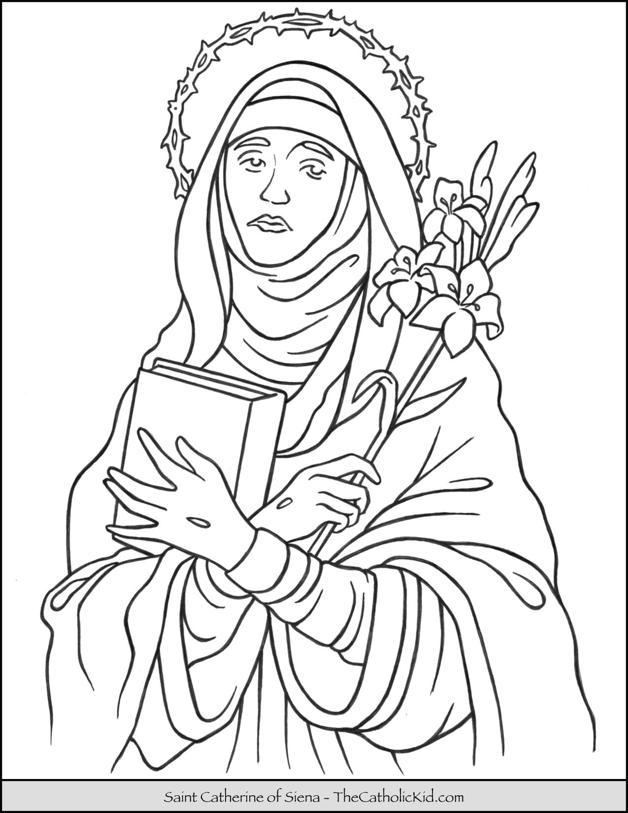 Saint Catherine Of Siena Coloring Page Thecatholickid Com With