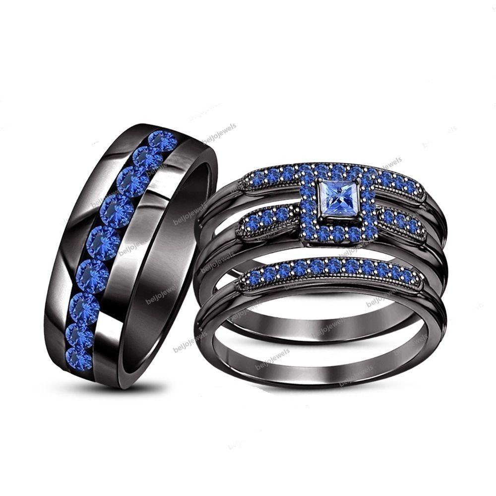 3.00 Carat 14K Gold Finish Princess Blue Sapphire Bride & Groom Trio Ring Set