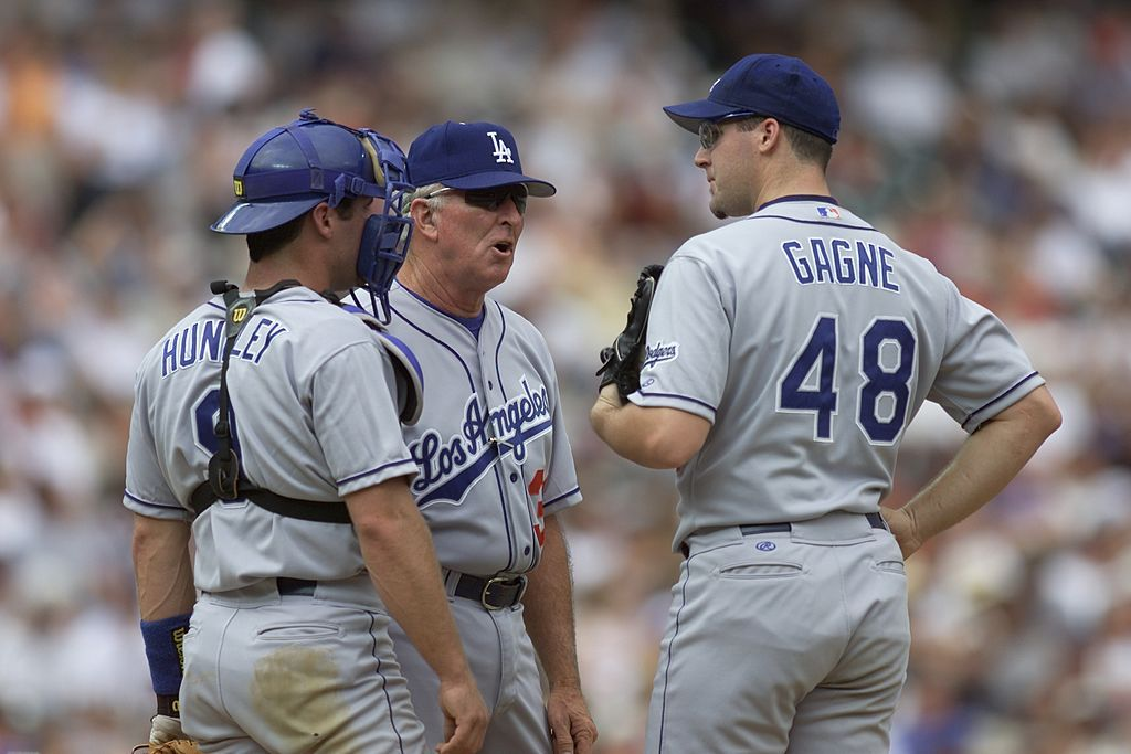 Pitching Coach Claude Osteen #38, Pitcher Eric Gagne #48, and Catcher Todd Hundley #9 of the Los Angeles Dodgers