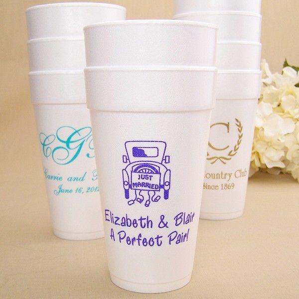 20 Oz. Styrofoam Cups Personalized | Wedding cups, Styrofoam