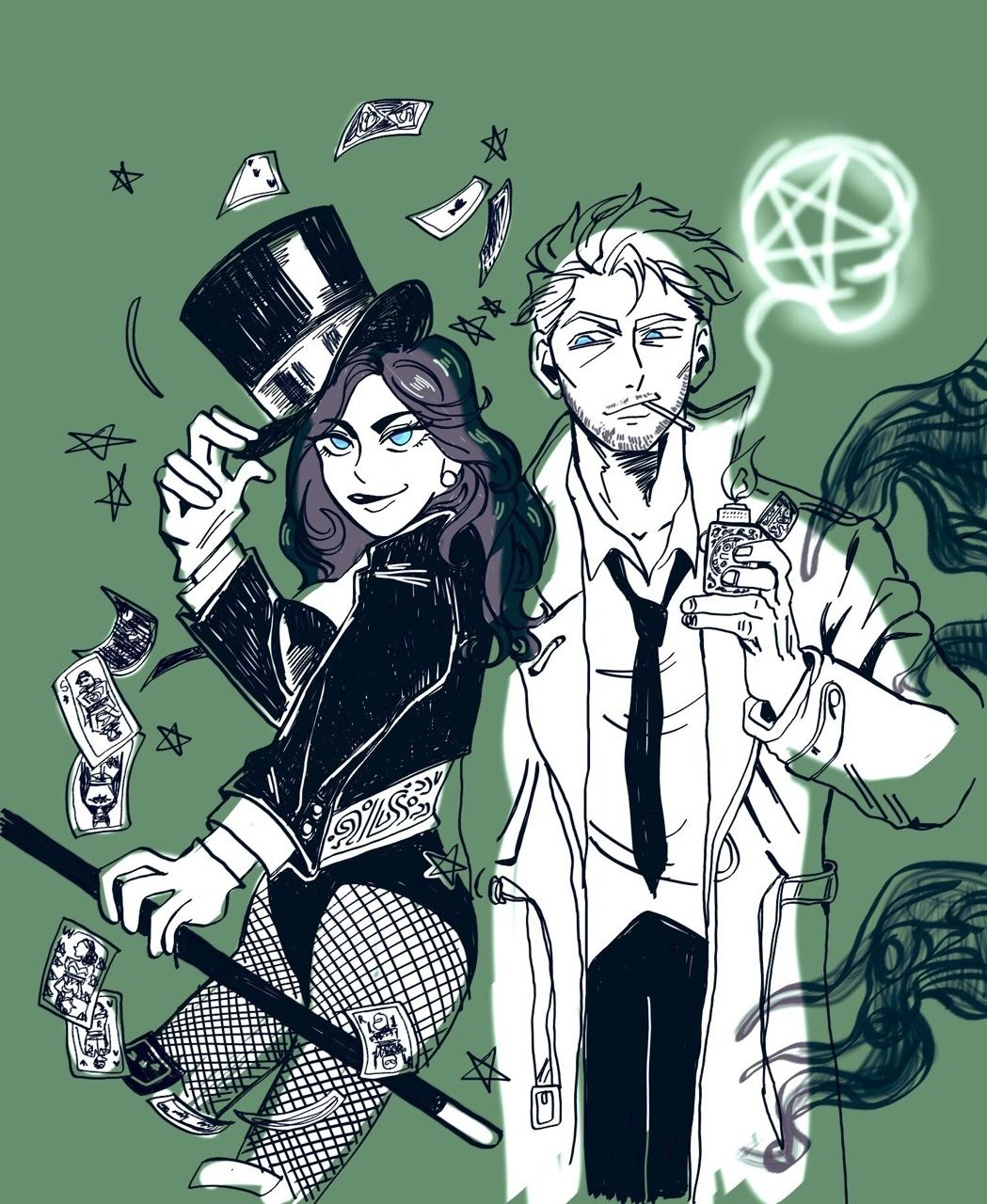 John Constantine And Zatanna By Jadeowl19 Marvel And Dc Superheroes John Constantine Constantine Comic