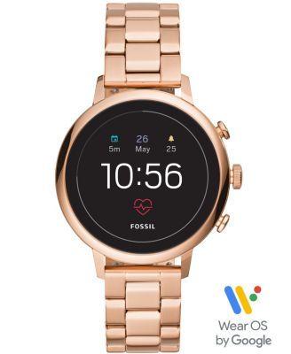 Fossil New Q Women S Gen 4 Venture Hr Rose Gold Tone Stainless Steel Bracelet Touchscreen Smart Watch 40mm Pink Stainless Steel Bracelet Smart Watch Fossil Watches