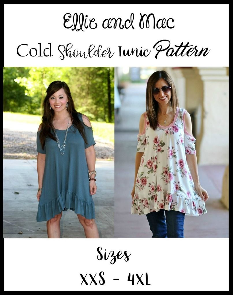 Teen / Women\'s Cold Shoulder Tunic Top PDF Sewing Pattern by Ellie ...