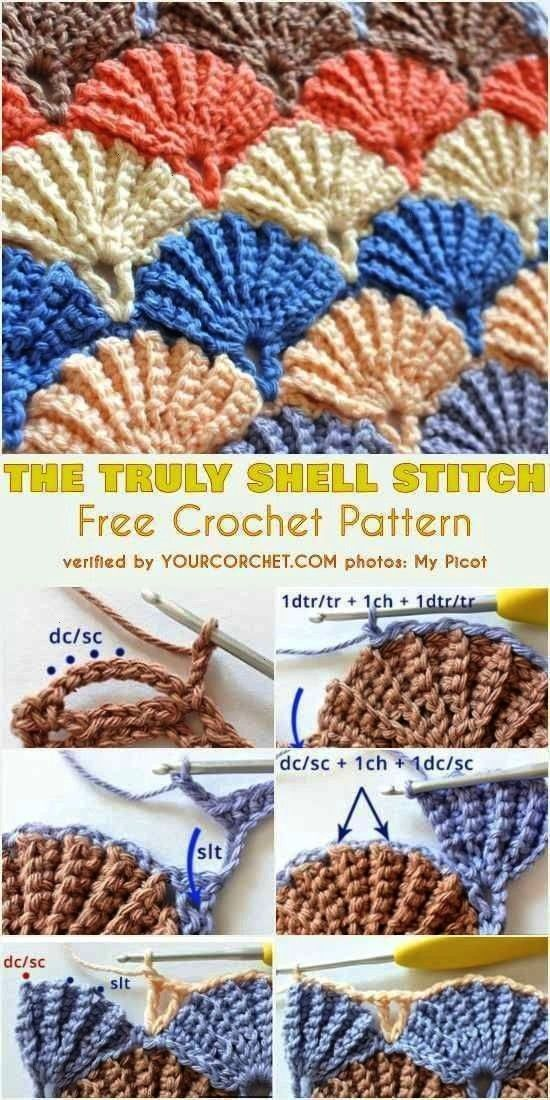 Shell Stitch Free Häkelmuster und Tutorial - patterns free blanket fastDas wirklich Shell Stitch F