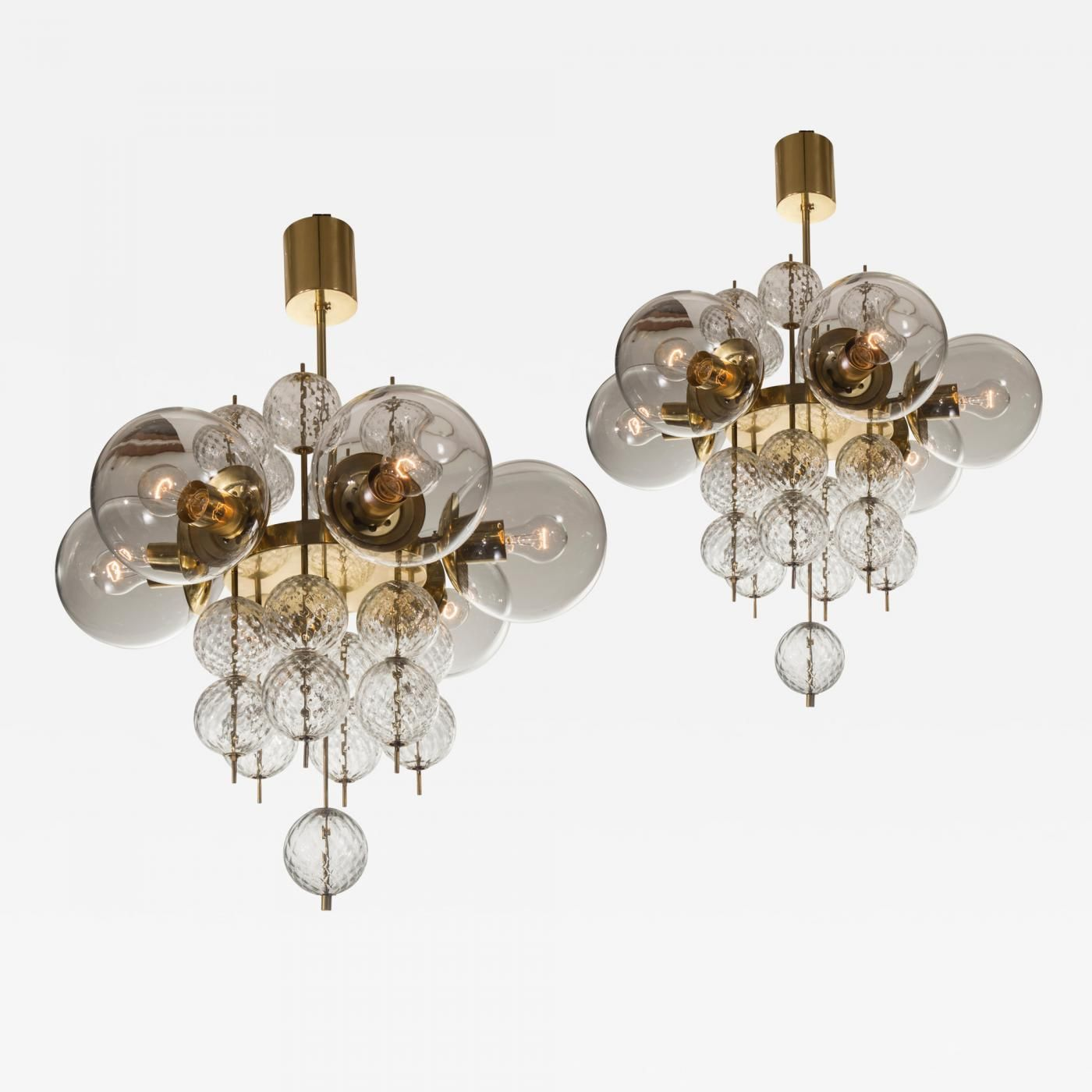 kamenicky senov a pair of czech brass and handblown glass chandeliers offered by