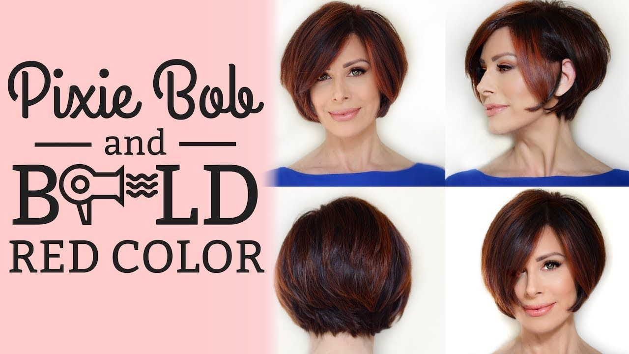 Pixie Bob Blowout & Style Options + BOLD Red Color  Dominique