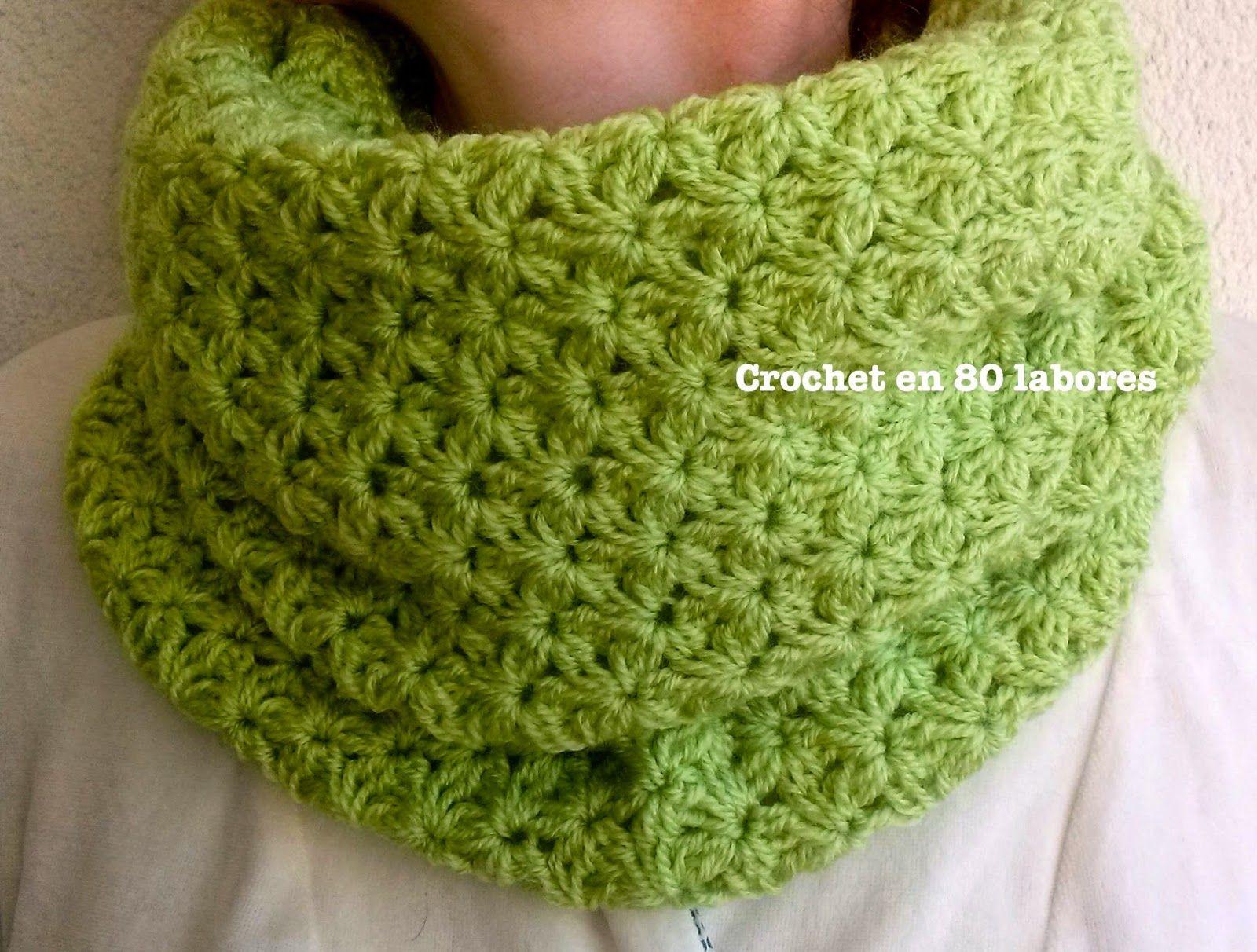 Crochet en 80 labores: Una bufanda sin fin en punto jazmín | Ideas ...